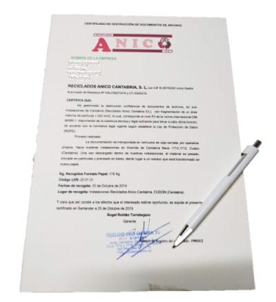 Certificado de destrucción de documentos en Cantabria